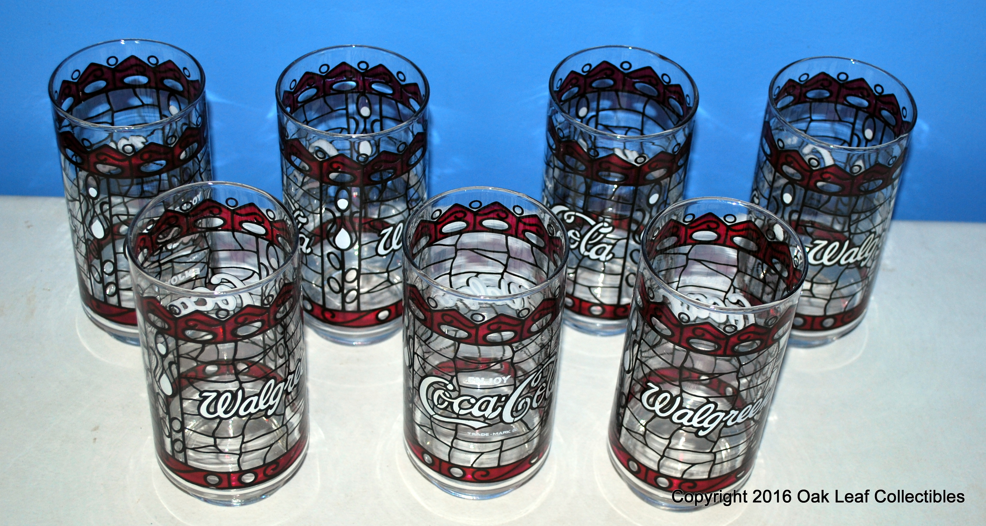 lot of 7 coca cola 16 oz drinking glasses tumblers stained glass red enjoy coke. Black Bedroom Furniture Sets. Home Design Ideas