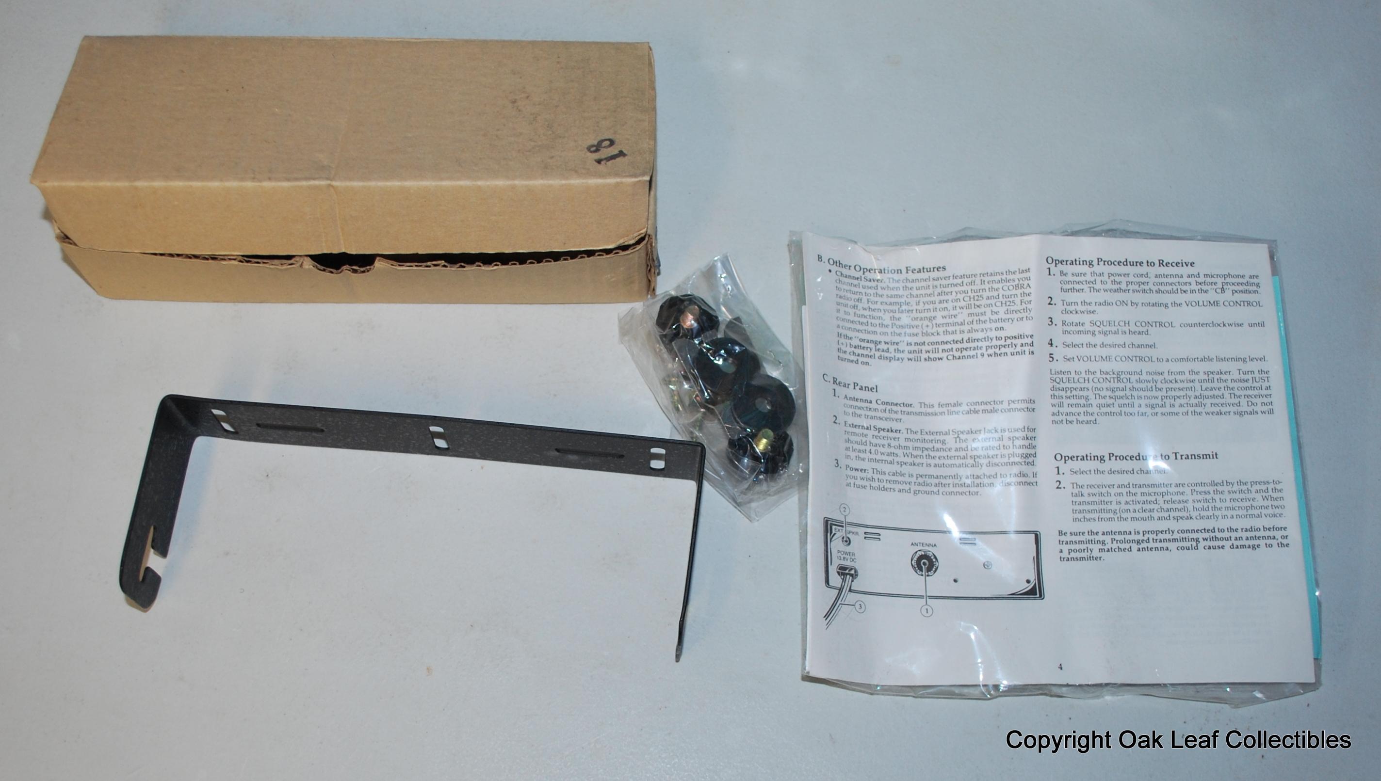 CB Radio Bracket Kit For Cobra MIC CLIPS SCREWS model 18 RV in box ...